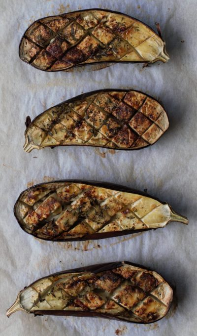 Gegrilde aubergines