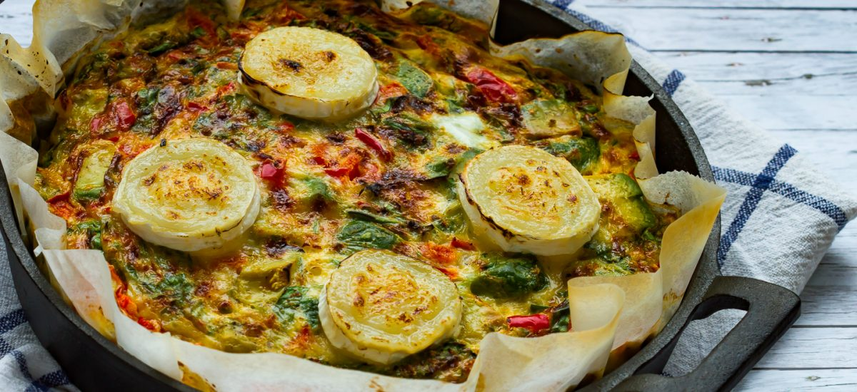 Quiche with avocado and goat cheese