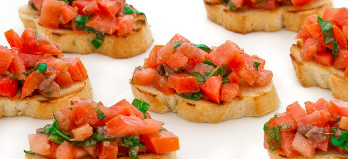 Bruschetta with anchovies and basil