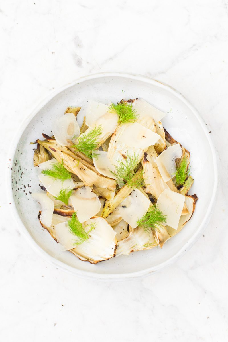 Grilled fennel with truffle oil and parmesan cheese