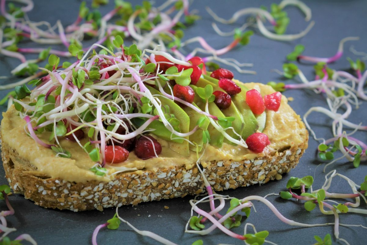 Sandwich with hummus and avocado