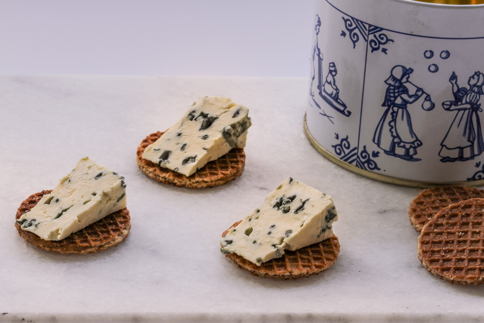 Syrup waffles with roquefort cheese