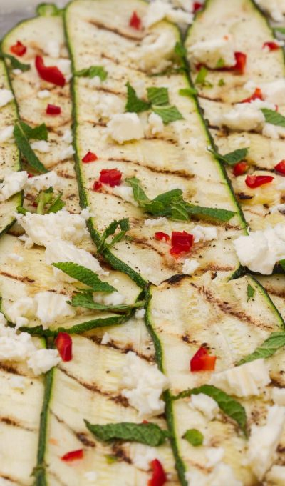 Grilled zucchini with mint, chili and feta