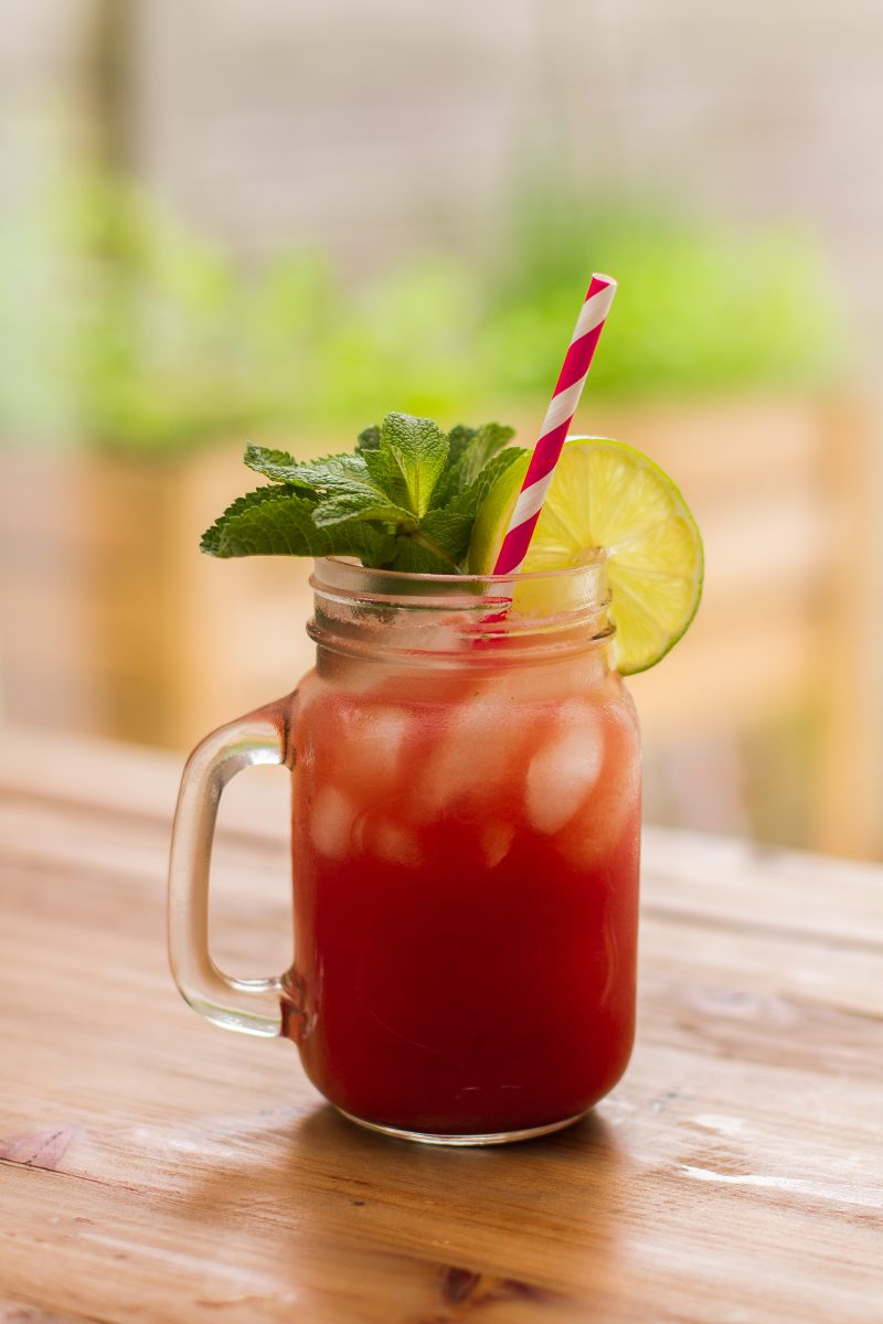 Cocktail with watermelon, cucumber and mint